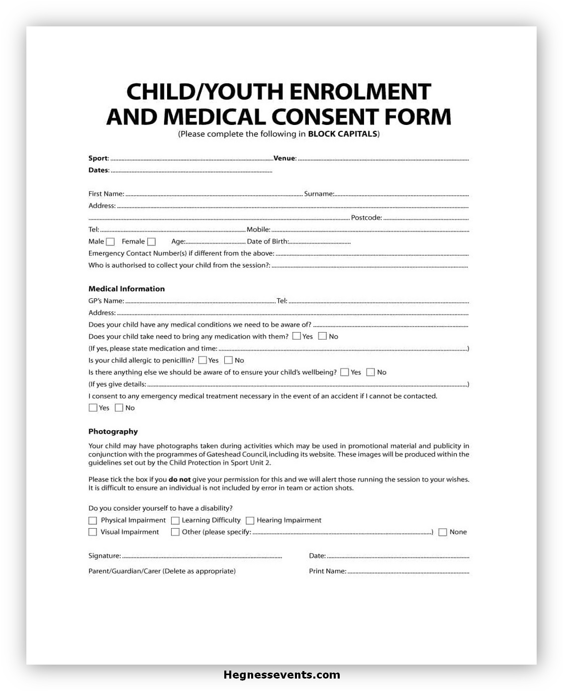 Medical Consent Form for A Child 03