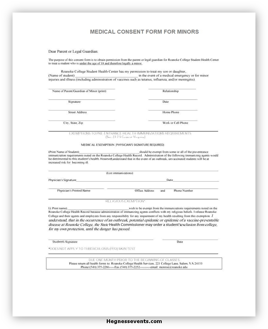 Medical Consent Form for A Minor 01