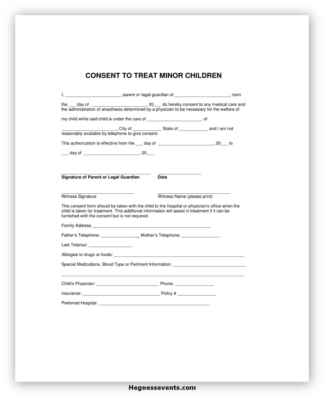 Medical Consent Form for A Minor 02