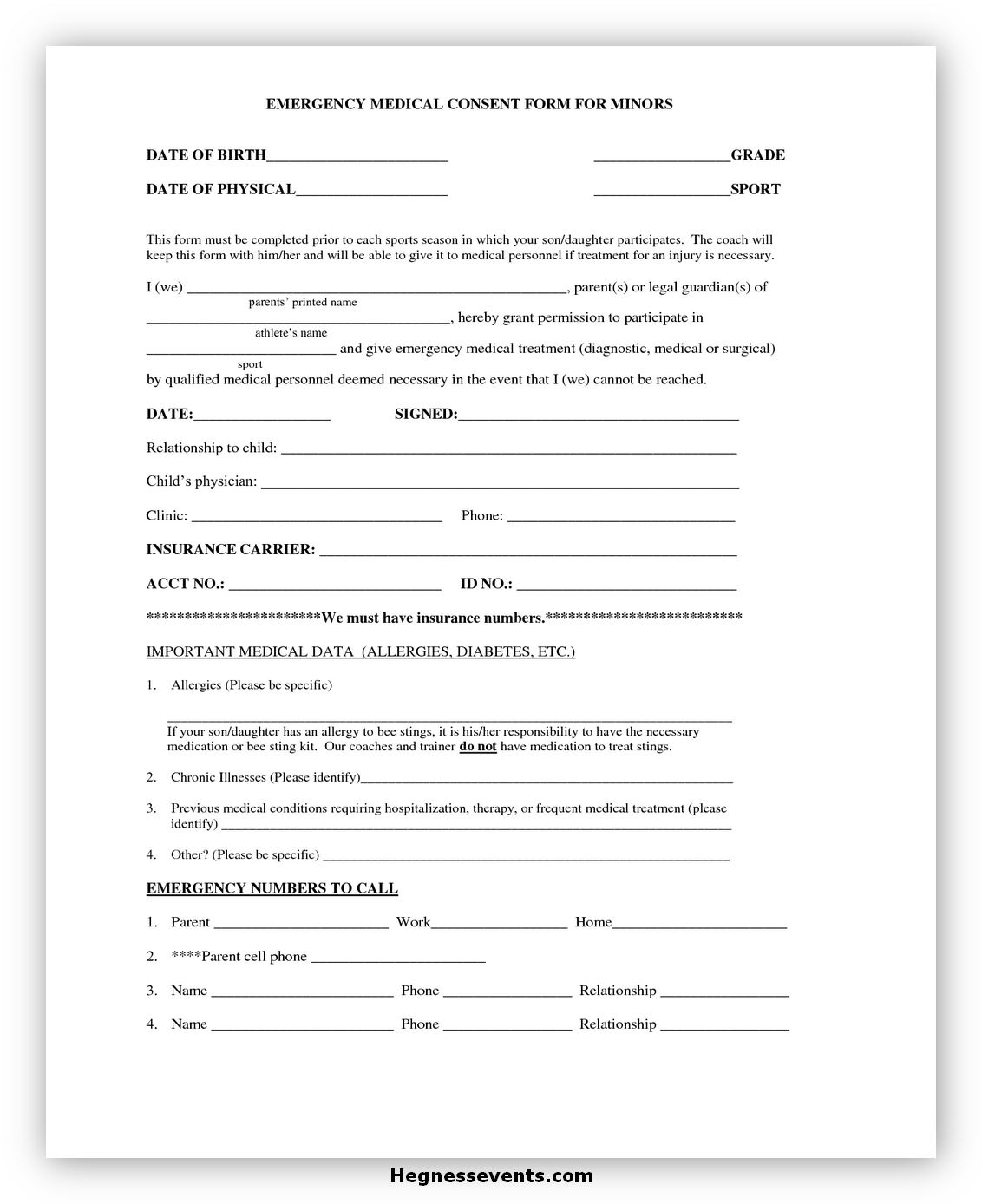 Medical Consent Form for A Minor 03
