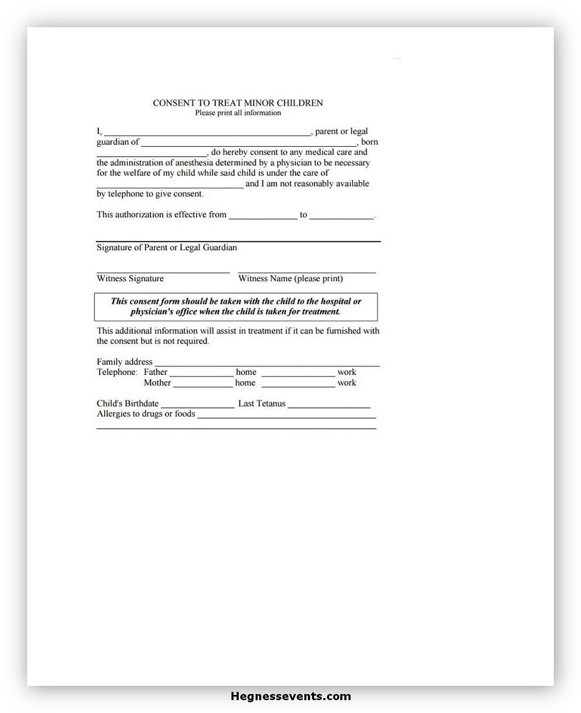 Medical Consent Form for A Minor 04
