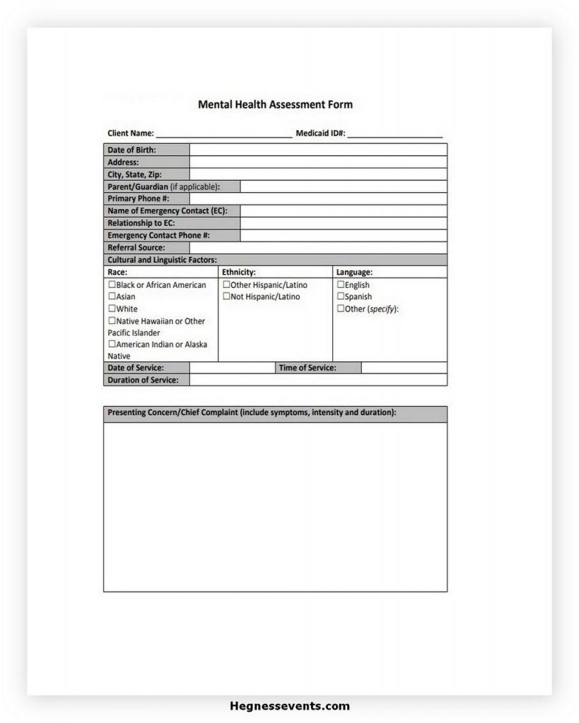 Medical Health Assessment Form