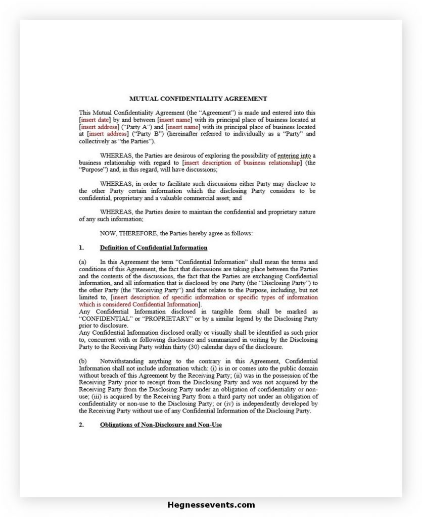 Mutual confidentiality agreement