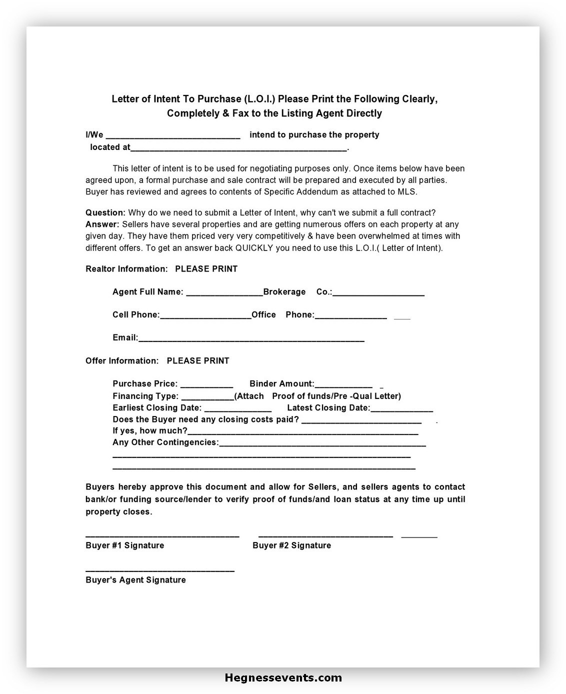 Real Estate Letter of Intent 07