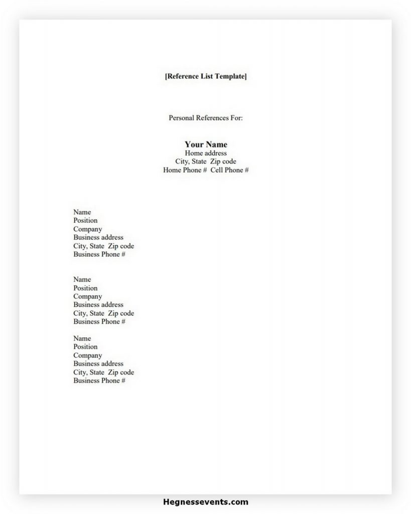 Reference List Template 1