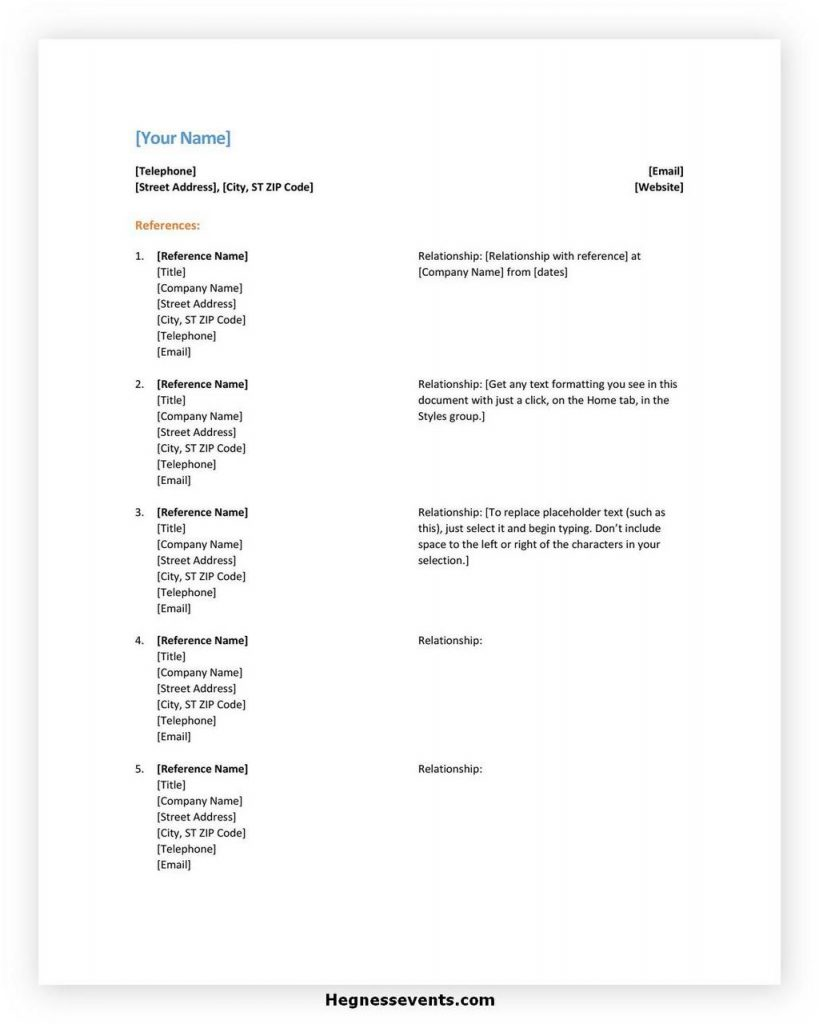 Reference List Template for Resume