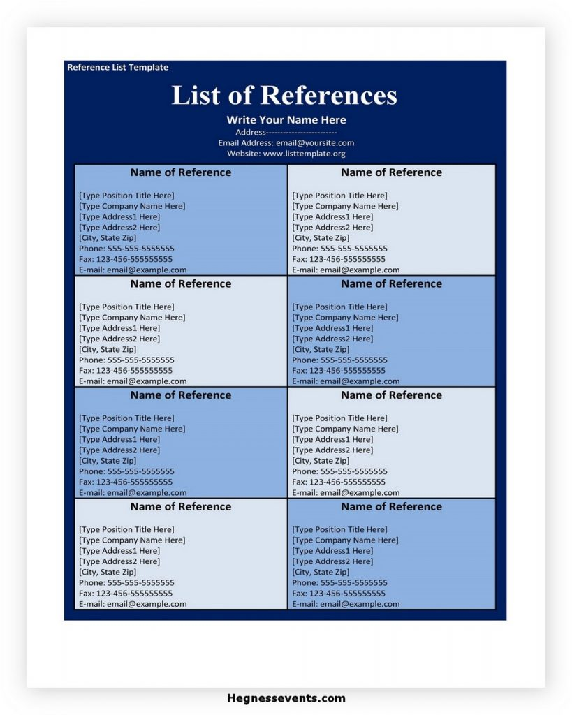 Reference list template 29