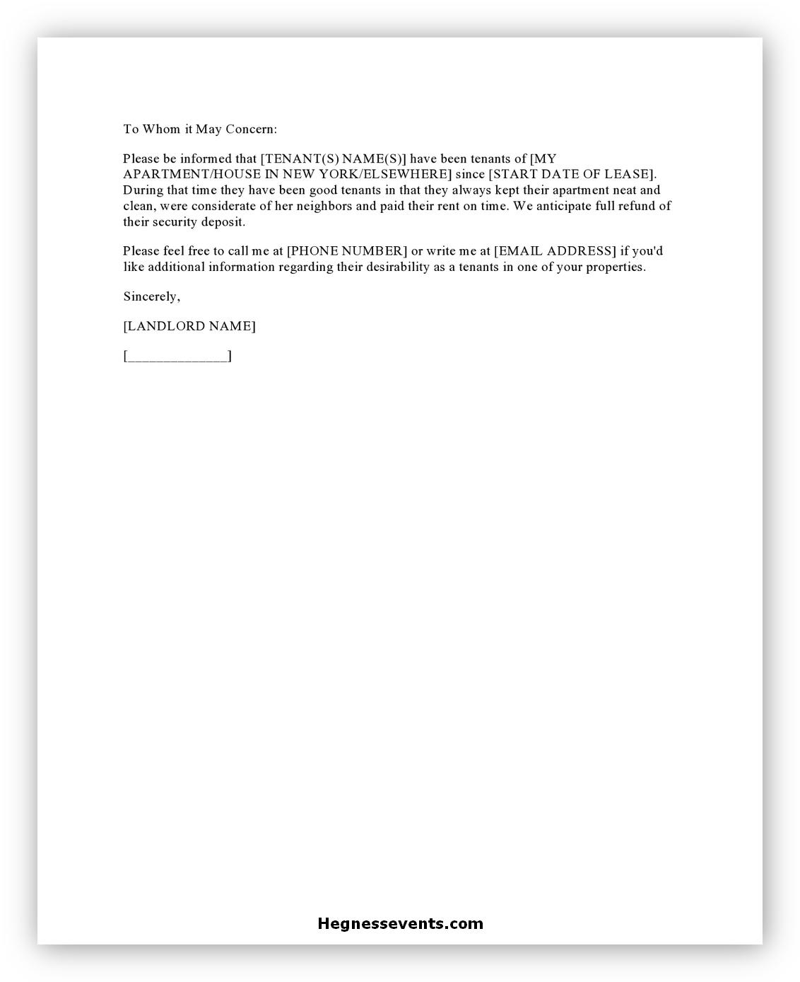Rental Reference Letter 07