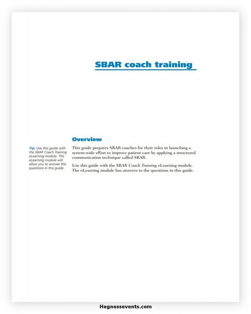 SBAR Coach Training