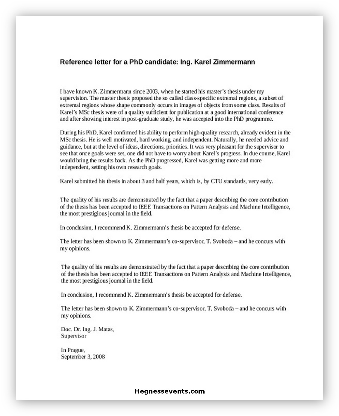 Sample Reference Letter For PhD Student