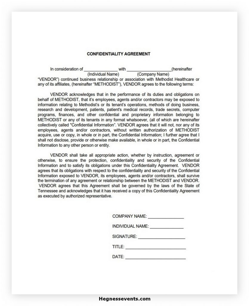 Simple Confidentiality Agreement Template