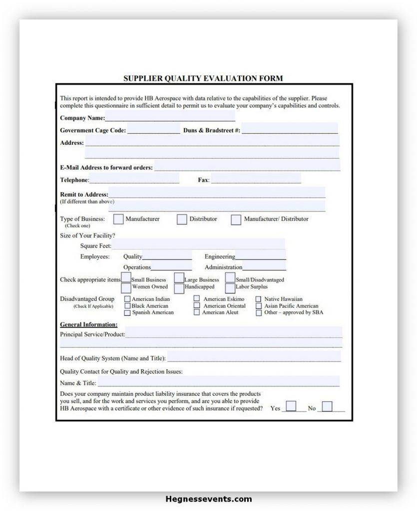 Supplier Evaluation Form 05