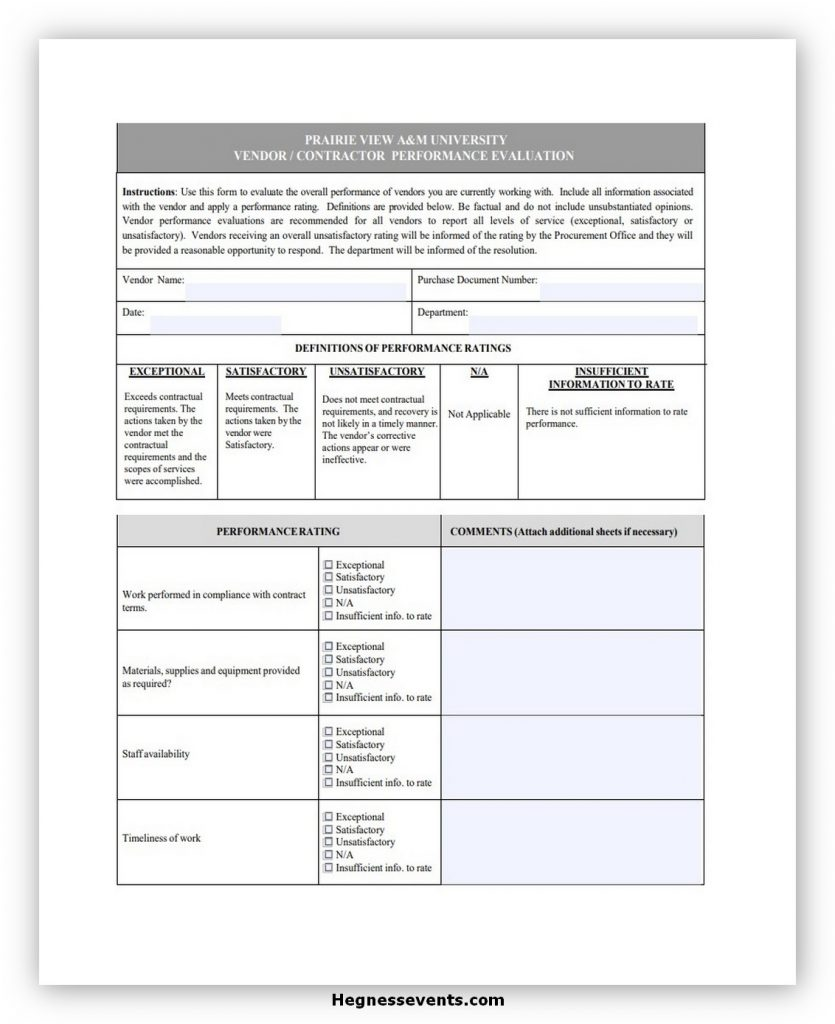 Supplier Evaluation Form 10