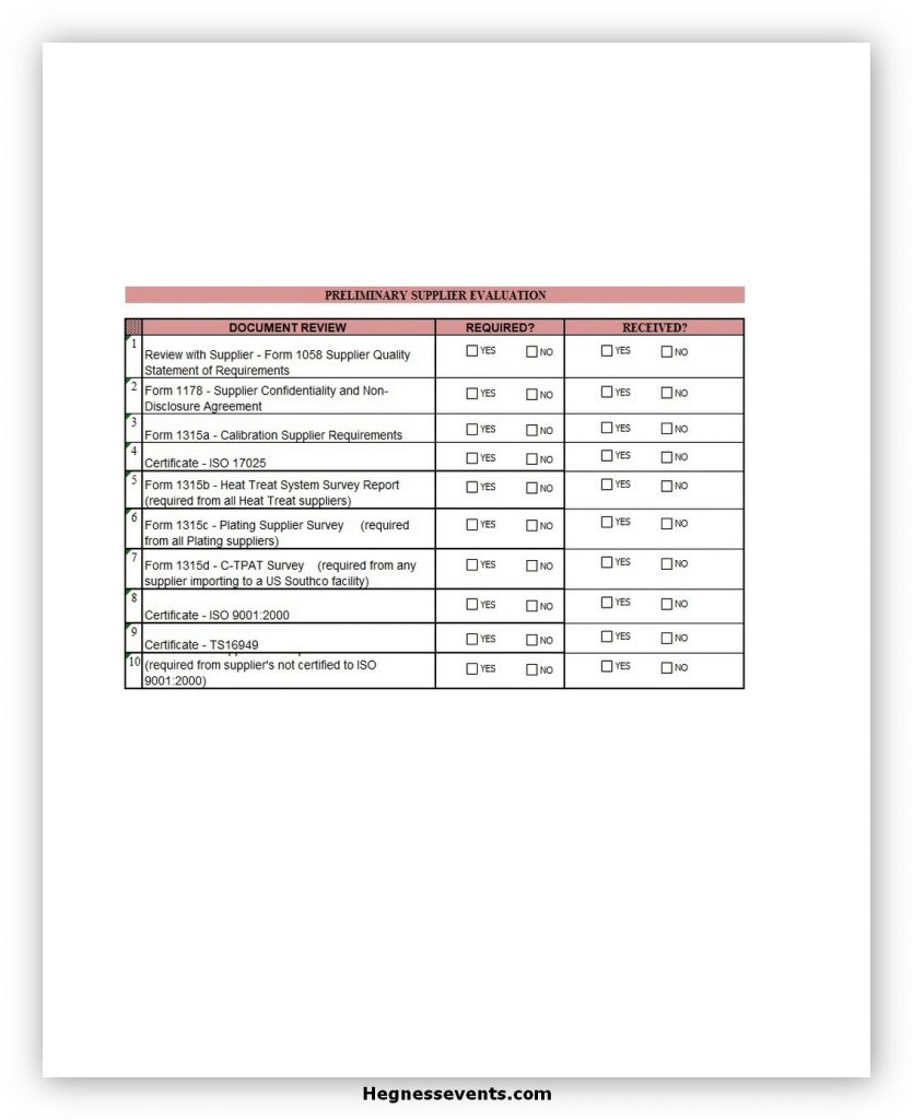 Supplier Evaluation Form Excel