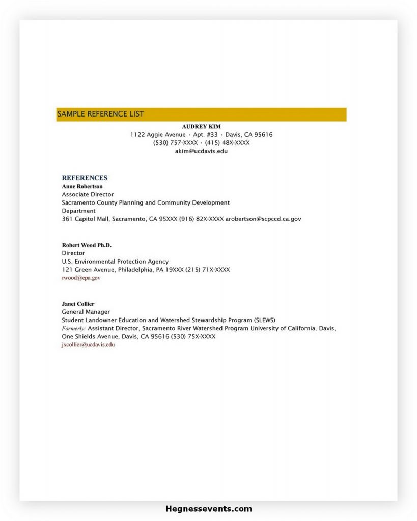 reference list template 03