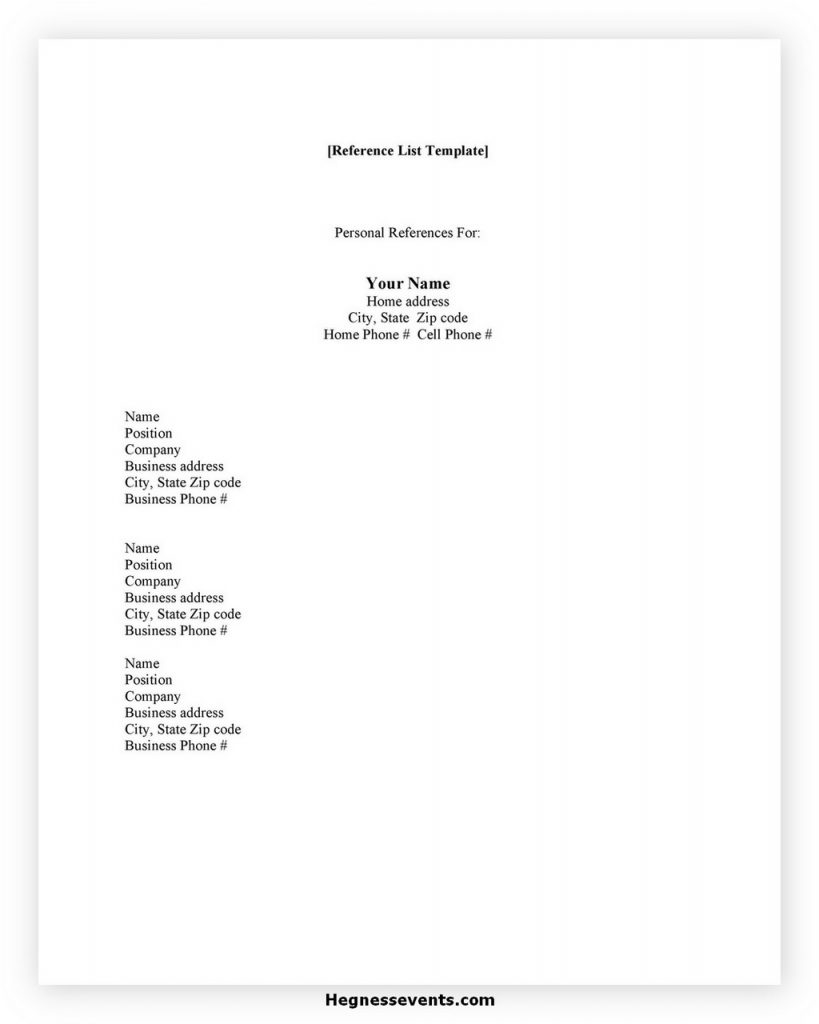 reference list template 28